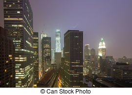 Stock Photography of Manhattan Skyline in a fog.