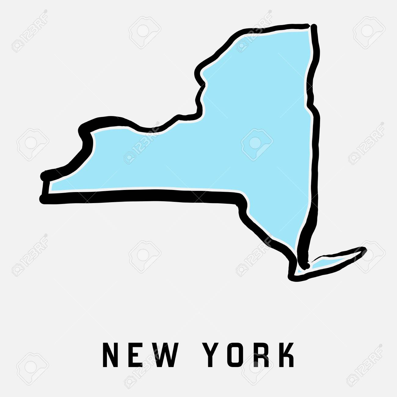 New York map outline.