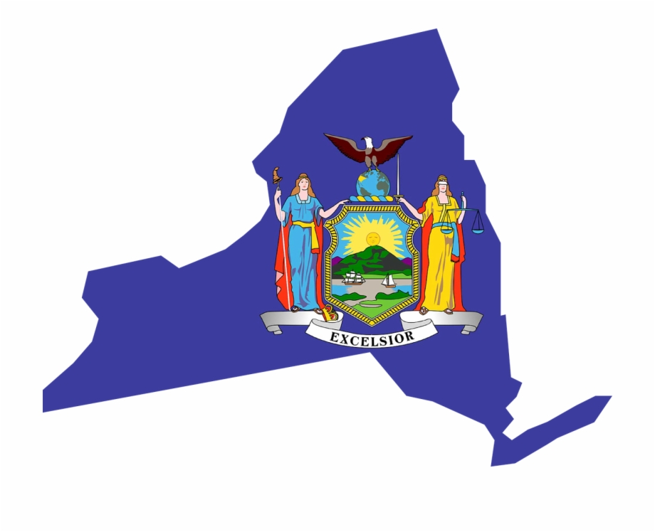 New York Flag Map Usa America Png Image.