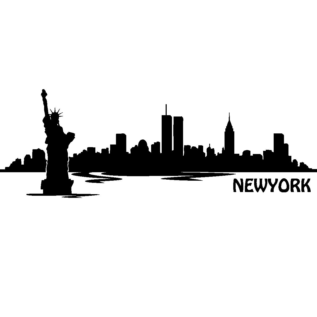New York City Skyline Silhouette World Trade Center.