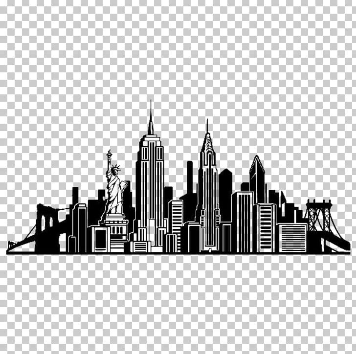 New York City Skyline Wall Decal Silhouette PNG, Clipart.