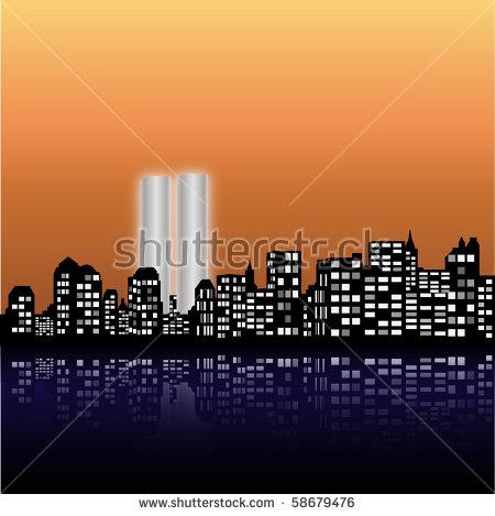 New York Skyline Twin Towers Stock Vector 58679476.