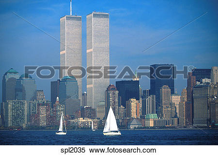 Stock Image of New York City skyline with Twin Towers and.
