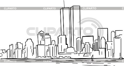 New York Skylie With Twin Towers Clipart.
