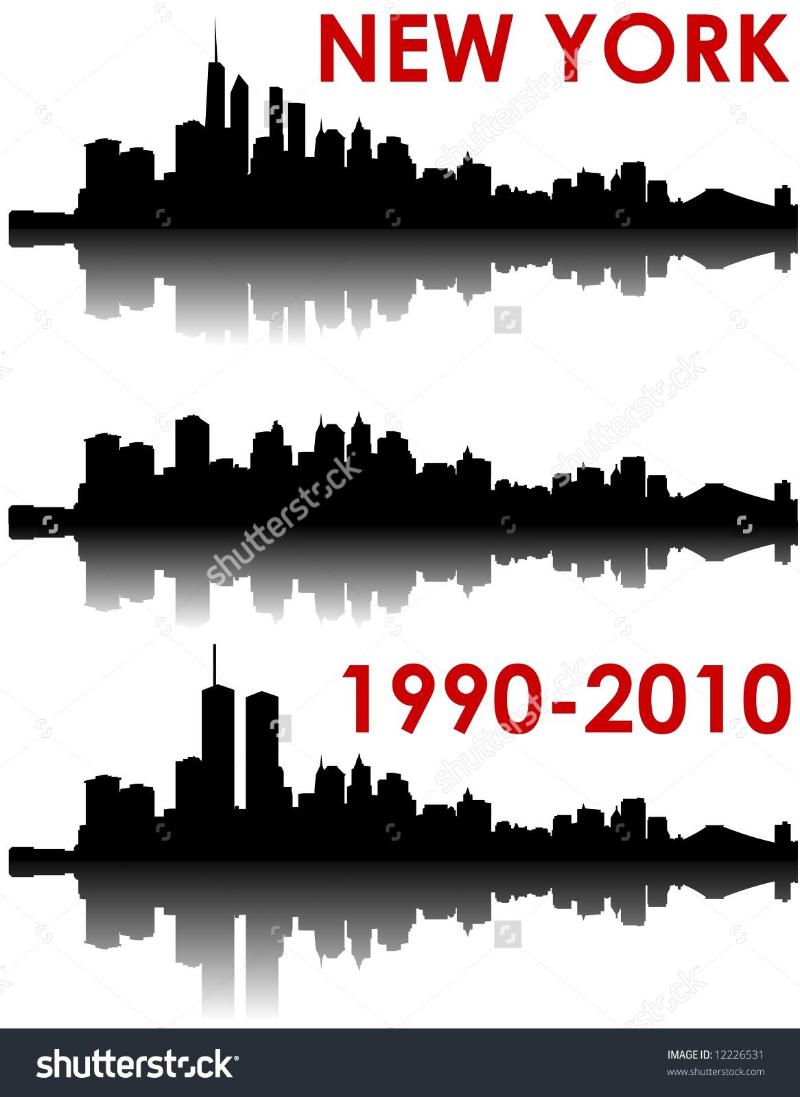 New York Skyline 19902010 Old World Stock Illustration 12226531.