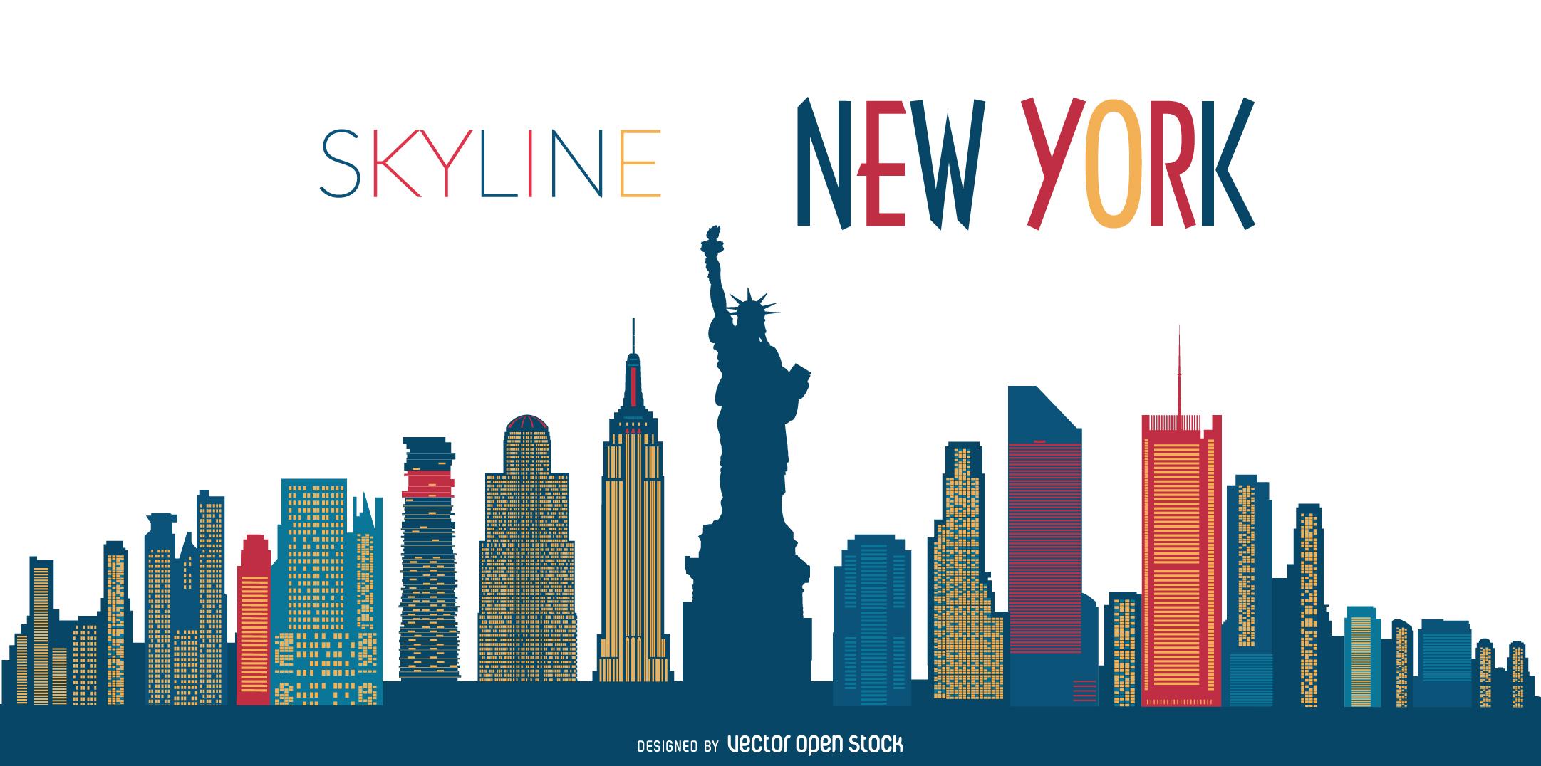 New York Skyline Silhouette Clipart.