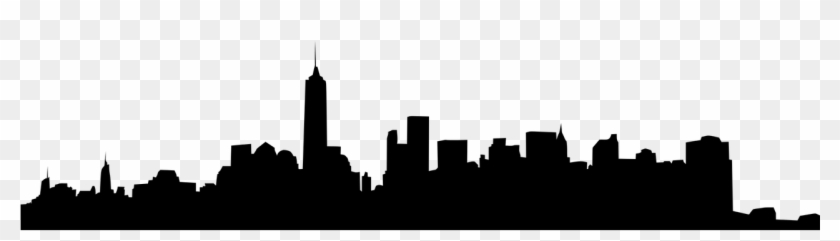 Silhouette Of Nyc Skyline.