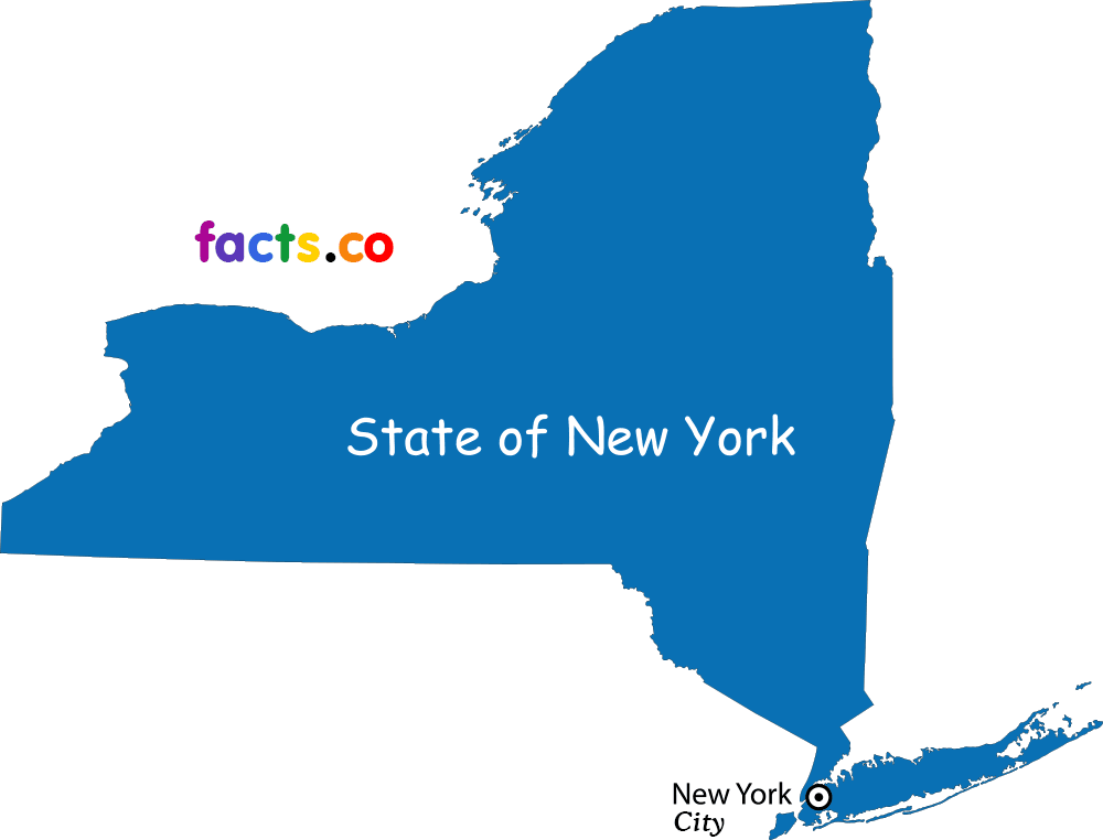 New York Map with cities.