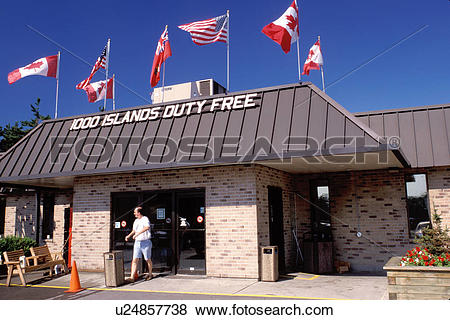Pictures of duty free shop, border, New York/Ontario, Canada.