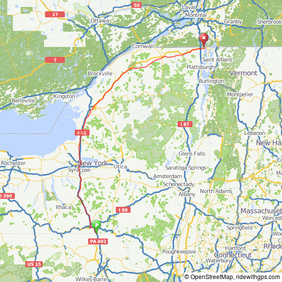 New York official state bicycle routes.