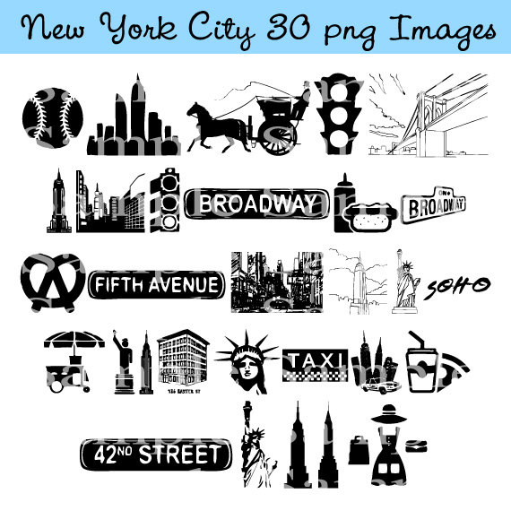 New York City Clip art INSTANT DOWNLOAD Manhattan, Taxi Cab.