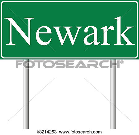 Clipart of Newark green road sign k8214253.