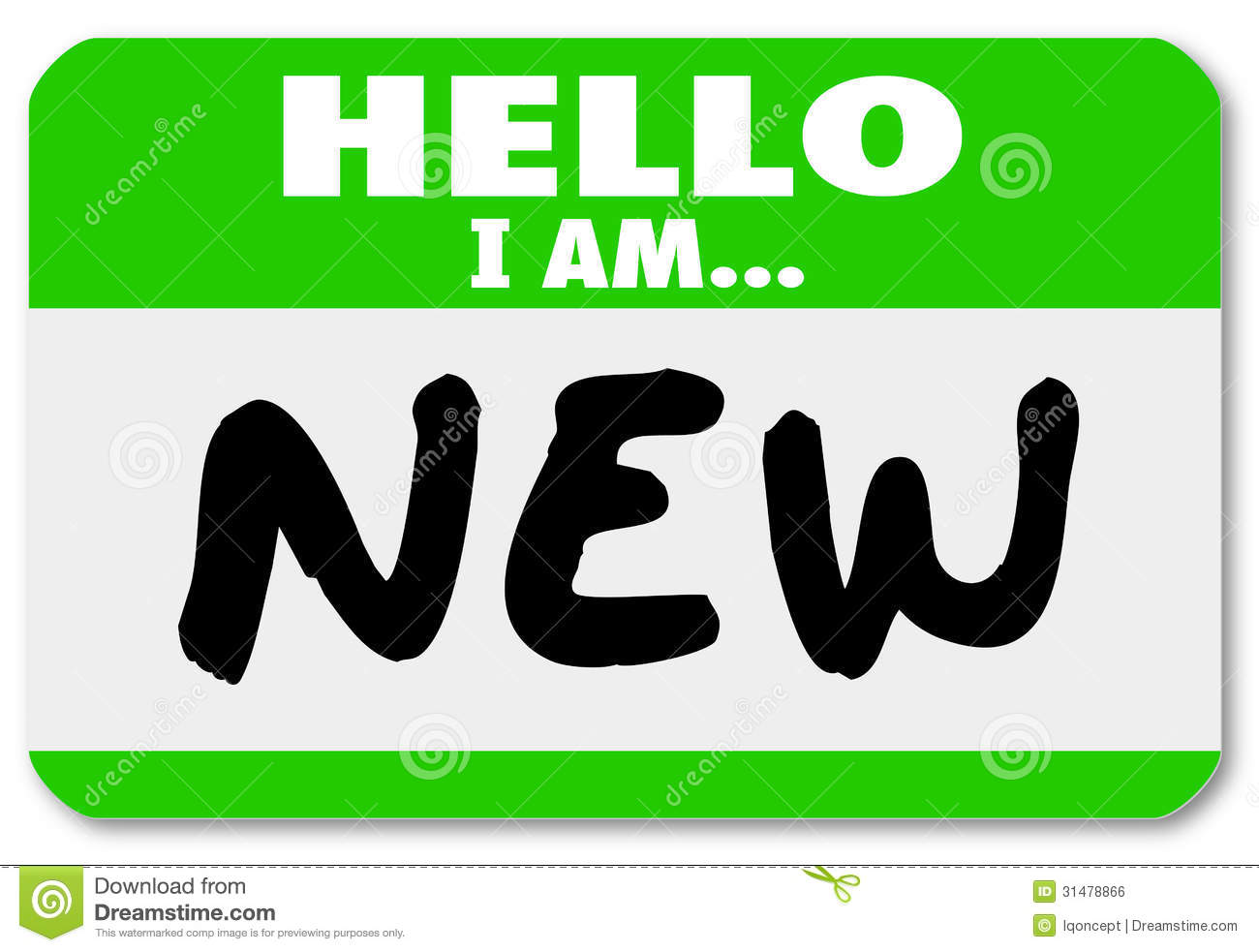 Hello I Am New Nametag Sticker Rookie Trainee Royalty Free Stock.