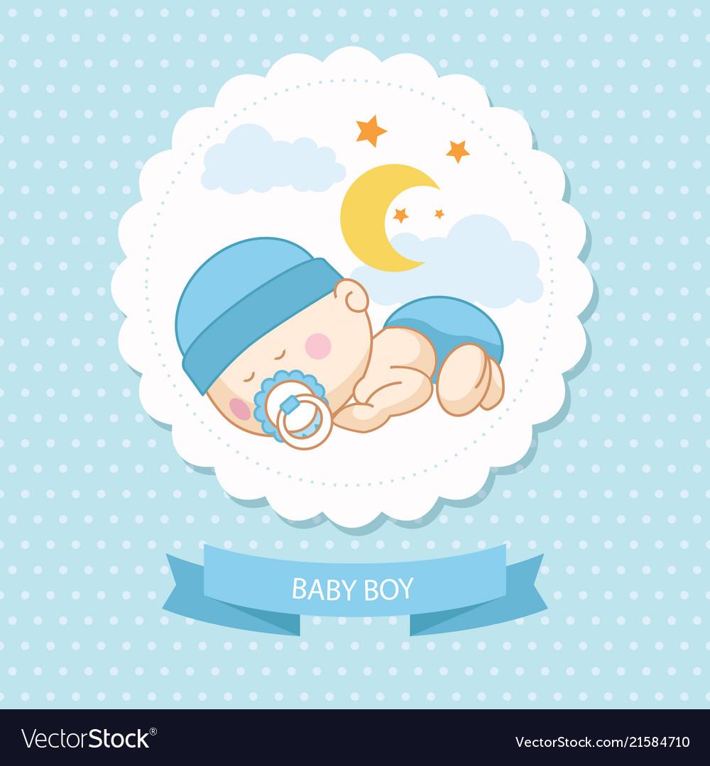 Baby new born boy blue card shower template.