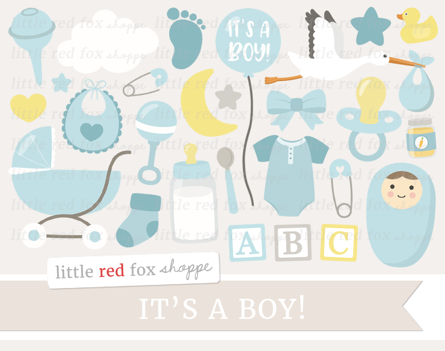 New Baby Boy Clipart By Little Red Fox Shoppe.