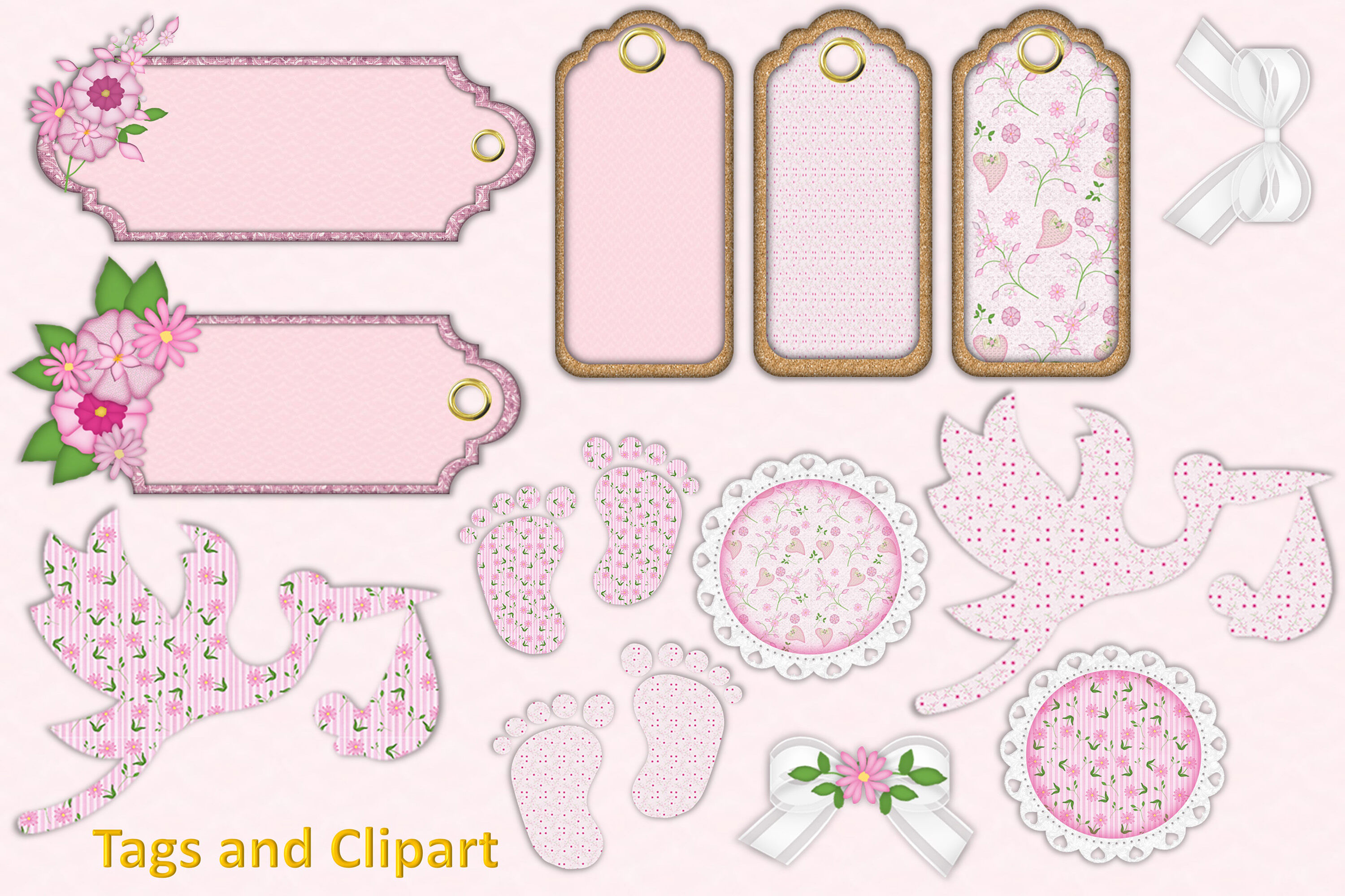 New Baby Girl Clipart and Backgrounds Bundle By The Paper.