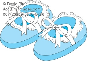 Royalty Free Clipart Illustration of Blue Newborn Baby Slippers.