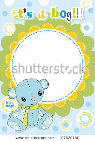 Cute Blue Baby Frame For A Newborn Boy Stock Vector Illustration.