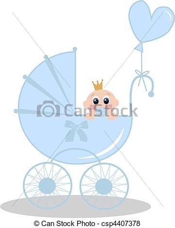Vector of newborn baby boy.