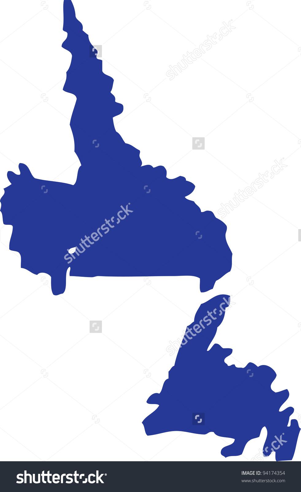 Vector Newfoundland Labrador Map Blue Stock Vector 94174354.
