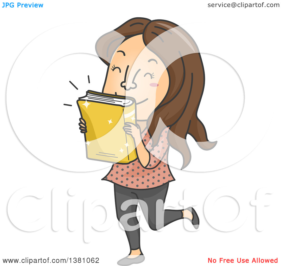 Clipart of a Cartoon Brunette White Woman Kissing a Newly Released.