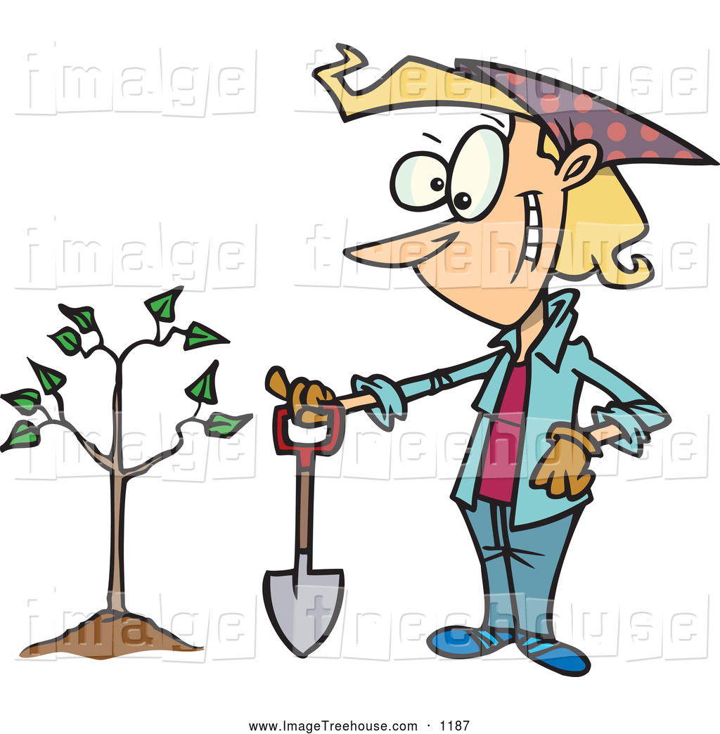 Clipart of a Proud Cartoon Lady with a Shovel by a Newly Planted.