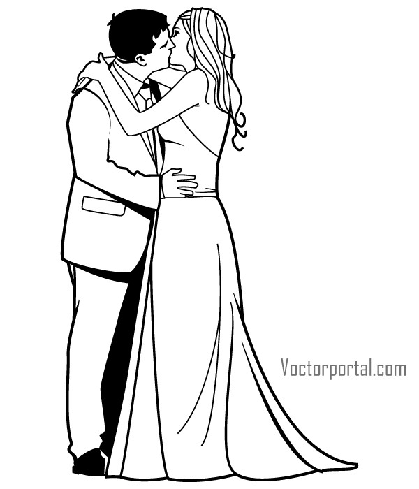 Romantic Newly Married Couple Kissing Vector Clip Art.