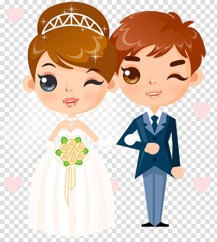 Newlywed couple illustration, Wedding invitation Cartoon.