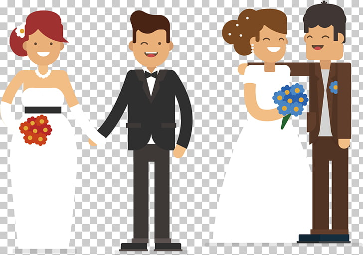 Marriage Illustration, Happy newlyweds PNG clipart.