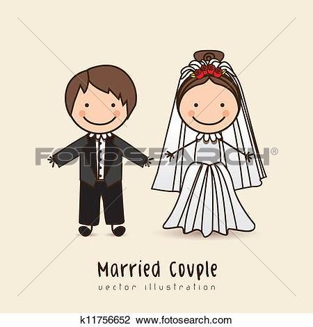 Clip Art of Newlyweds. Icon k11848269.