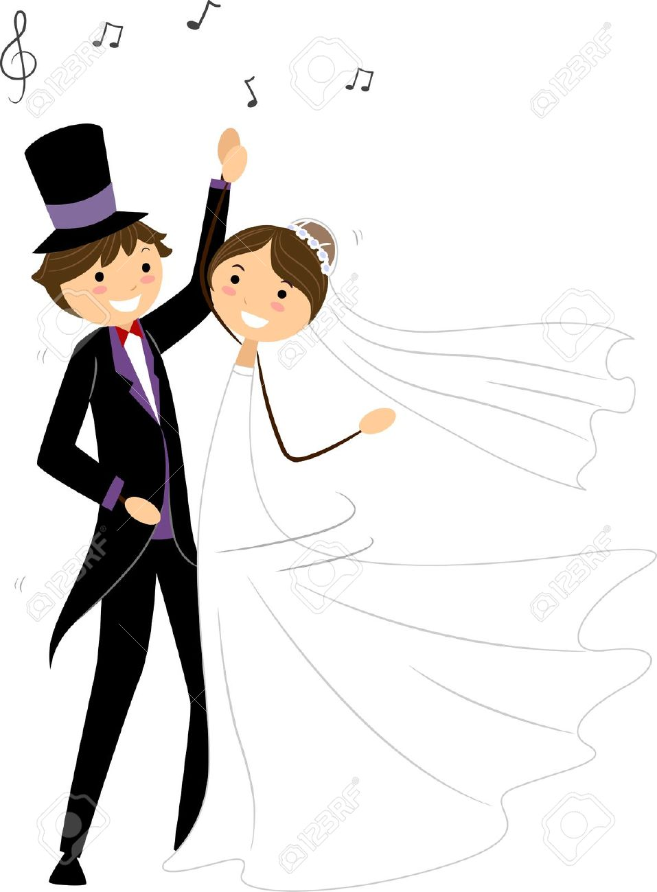 Illustration Of Newlyweds Performing A Wedding Dance Stock Photo.