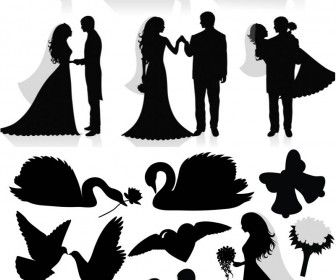 FREE Silhouette newlyweds vector. DIY wedding programs.