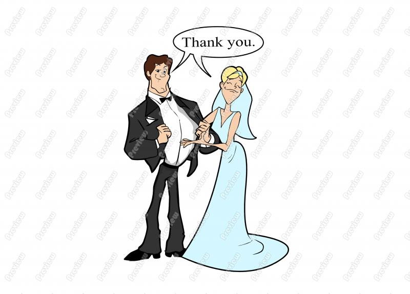 Thank You Newlyweds Character Clip Art.