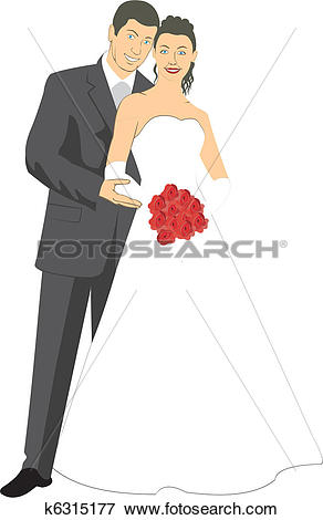 Clip Art of Newlyweds k6315177.