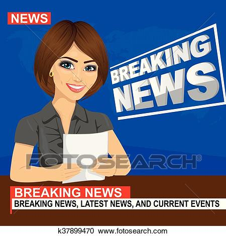 Young news anchor woman reporting breaking news sitting in studio Clipart.