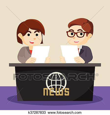 Boy and girl news anchor Clipart.