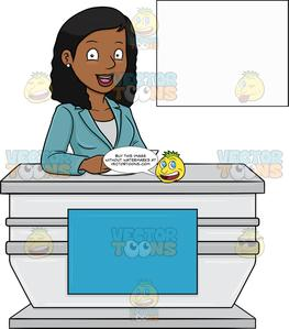 A Cheerful Black Female News Anchor Reporting A Happy News.