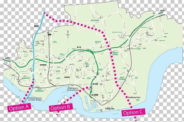 Lower Thames Crossing River Thames Orsett Map Road, Lower.