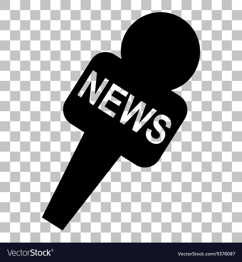 TV news microphone sign Flat style.