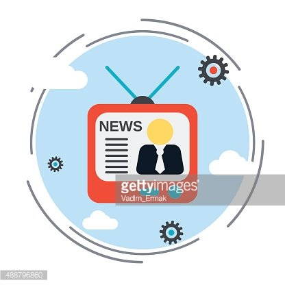 Newscast, information, broadcasting vector illustration.