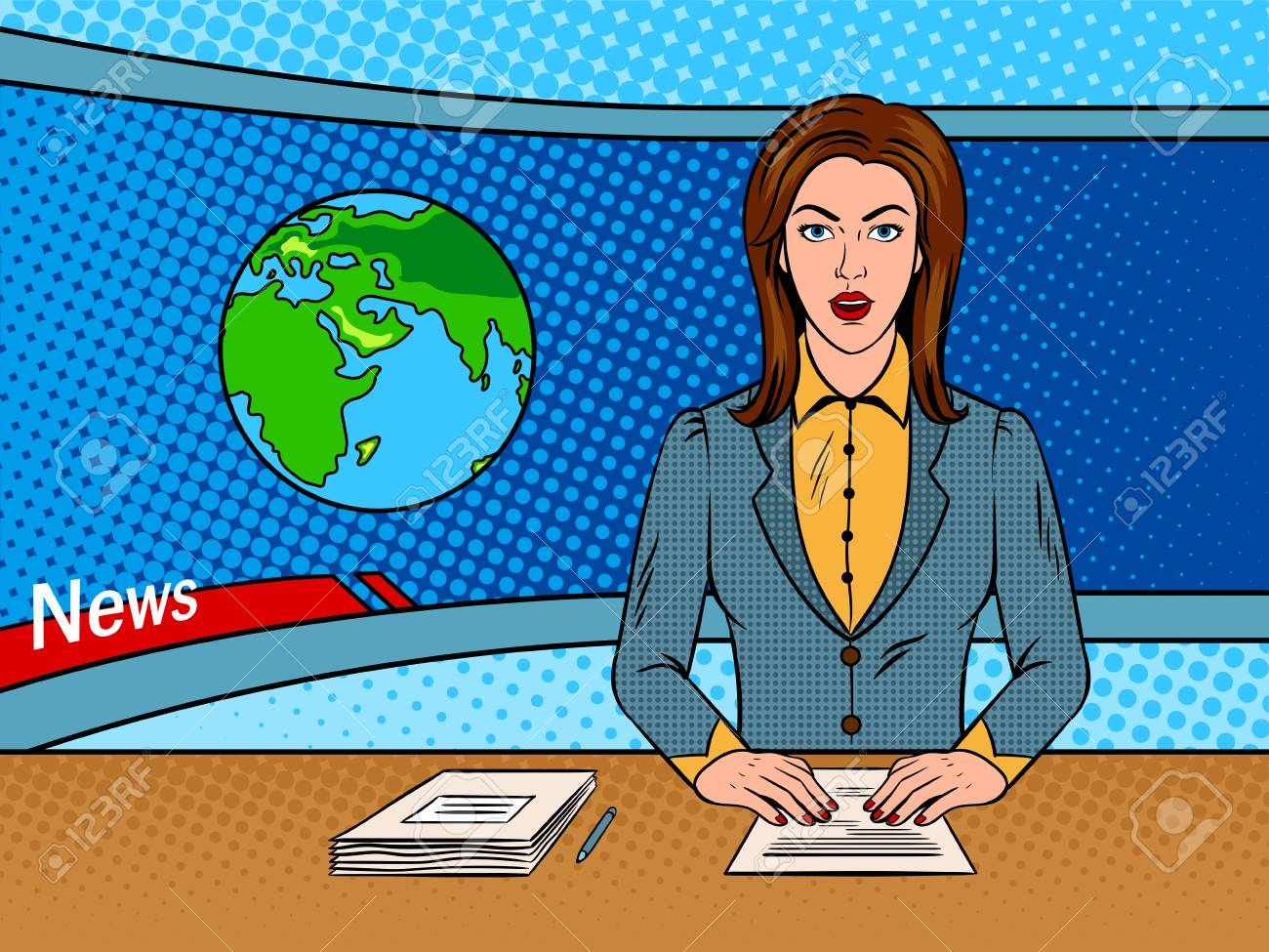 Newsreader reads news on TV pop art vector.