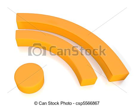 Picture of rss news feed symbol in 3D on white background.