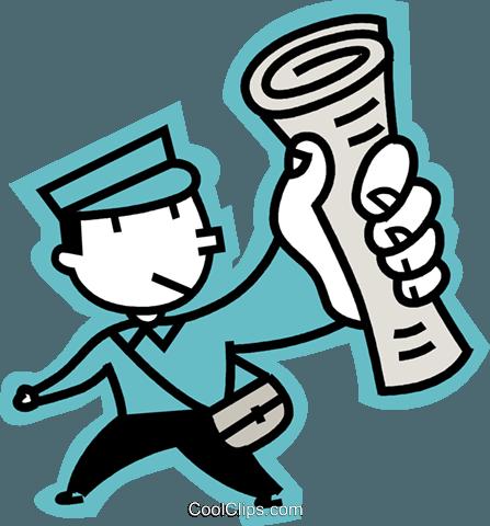 newspaper boy Royalty Free Vector Clip Art illustration.
