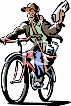 Newspaper Delivery Boy Clipart.