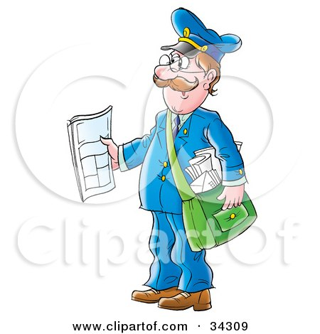 Clipart Illustration of a Friendly Caucasian Mailman Holding Out A.