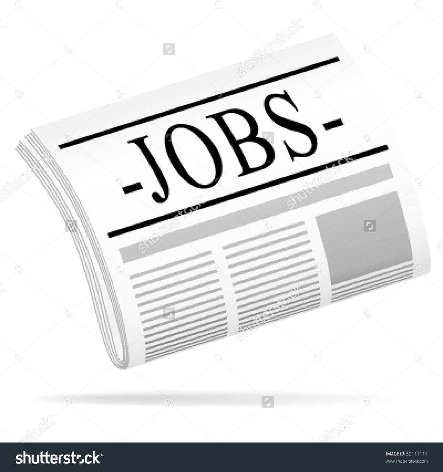Jobs Newspaper Vector Icon Stock Vector 52111117.