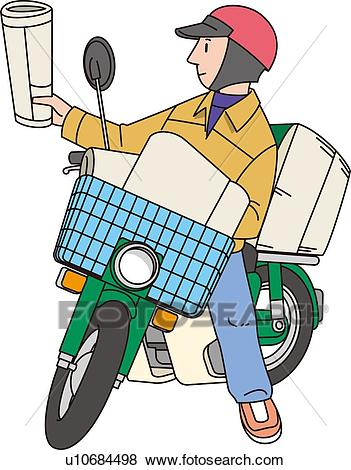 Newspaper Delivery Man, Illustrative Technique Stock Illustration.