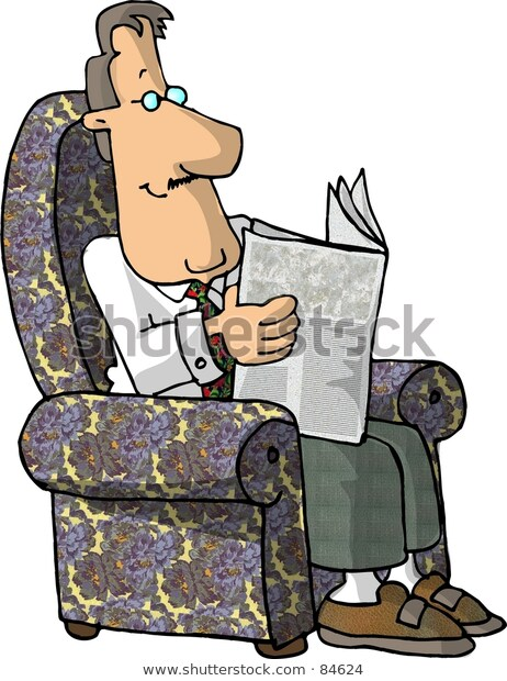 Clipart Illustration Man Reading Newspaper Stock.