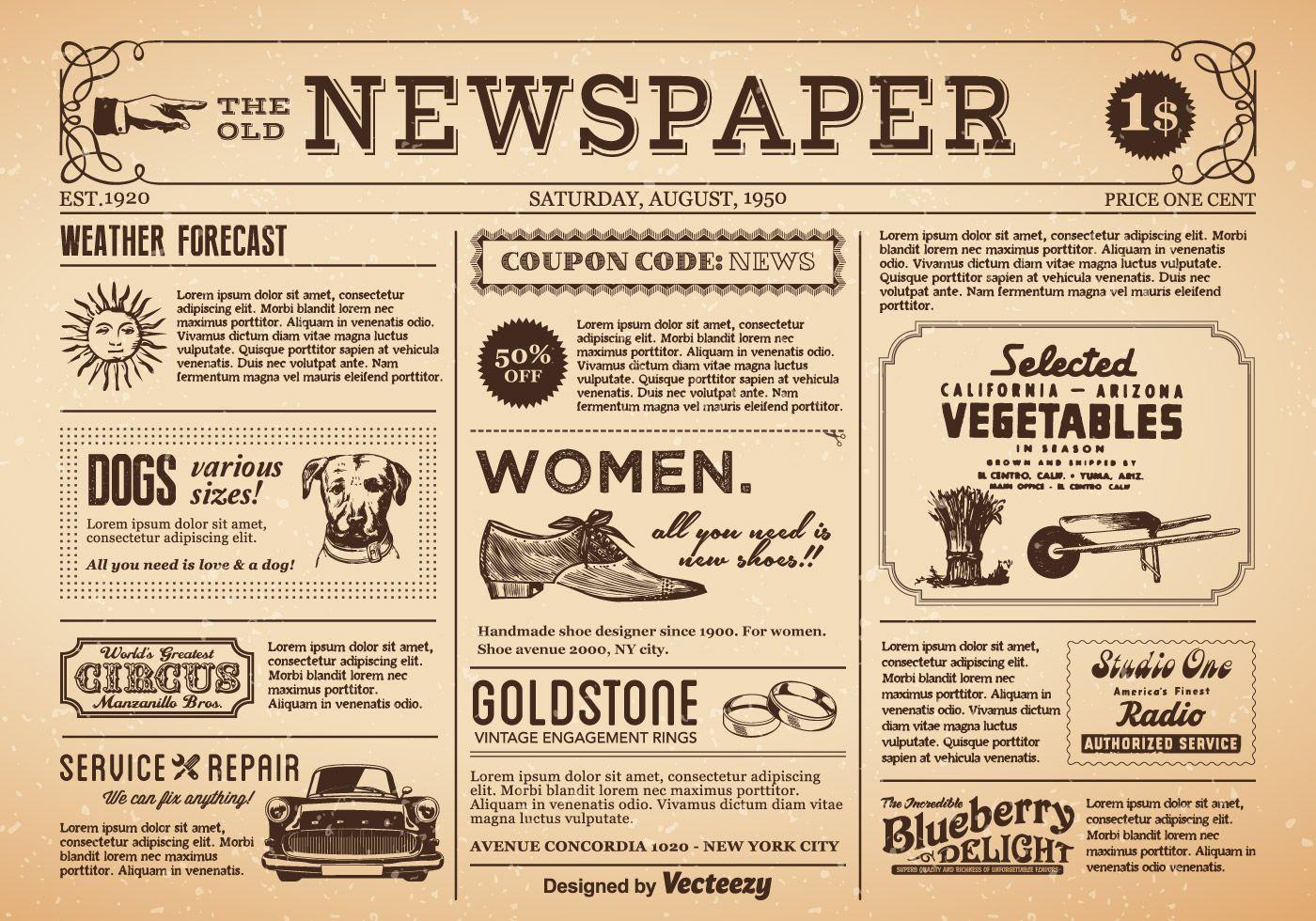 Old Newspaper Vector free download.