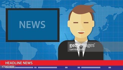 anchor man news headline breaking tv Clipart Image.